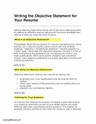 Job Objectives Resume Fresh 29 New Objective Example Templates