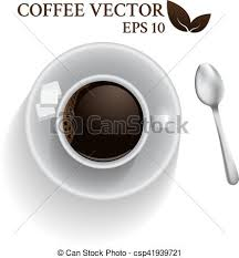 Top View A Cup Of Coffee With Spoon And Cube Sugar Espresso Shot Isolated On White Background Vector Illustration
