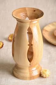 handmade deko vase wohnzimmer deko holz vase tisch deko geschnitzt originell