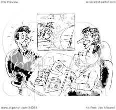 Royalty Free RF Clipart Illustration Of A Black And White Sketch Travel Agent Working With Clients By Alex Bannykh