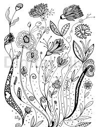 Adult Coloring Pages Whimsical Wild Flowers Design Page INSTANT DOWNLOAD Kids Colouring Craft Activity