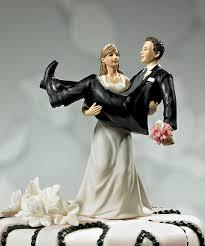Fun Unique Wedding Cake Topper Bride Holding Groom