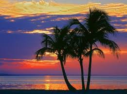 colorful sunset over sombrero beach in the florida keys peel and