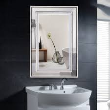 Costway 24 X 36 Rectangular WallMounted Wooden Frame Vanity Mirror Glass Bathroom