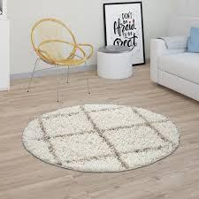 teppich wohnzimmer hochflor shaggy skandi design mit rauten muster modern beige