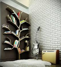 modern wood bookshelves design with tree branch theme