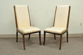 Mid Century Modern Set Of Eight Mastercraft For Baker Brass Trim Dining Room Chairs