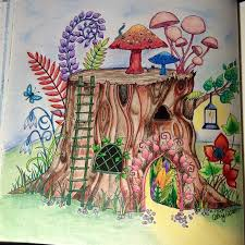 Tree Stump House Enchanted Forest Johanna Basford Cathyc Pencil Crayons