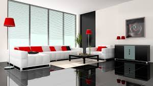 Charming Ceramic Tile Floor In Living Room With Black And White Color Schemes Also Using Red Pillows