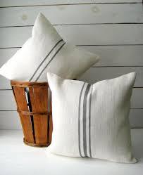 Burlap Pillow Set Grainsack Throw Cottage Chic Beach Rustic Decor Farmhouse Choose And Stripe Color