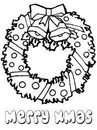 Lovely Christmas Wreath For Ornament On Coloring Page