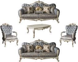 casa padrino luxus barock wohnzimmer set blau weiß gold 2 sofas 2 sessel 1 couchtisch möbel im barockstil edel prunkvoll