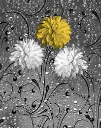 Yellow Gray Bathroom Art by Yellow Gray Bathroom Modern Floral Raindrops Home Decor Yellow
