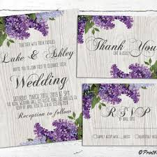 Spring Wedding Invite Personalized Printable Lilacs On Grey Wood Rustic Suite