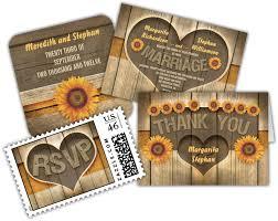 Wood And Sunflowers Heart Rustic Wedding Invitation