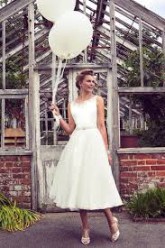 Elegant Beaded Tulle Sleeveless A Line Tea Length Rustic Bridal Gown