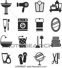 badezimmer symbol satz schwarz weiß clipart k23006522