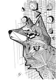 Coloring Page Of A Wolf In Zentangles Style And Cubique