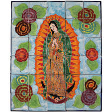mexican tile mural virgin de guadalupe