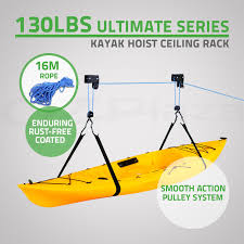 Kayak Hoist Ceiling Rack by Kayak Roof Pulley System The Yak Shed
