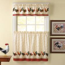 French Country Kitchen Curtains Ideas by Entrancing French Country Rooster Kitchen Curtains Using Vintage