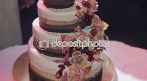 Tiered Wedding Cake With Rustic Stock Video 95753732