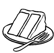 Slice cake coloring pages on plate