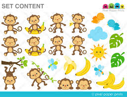 Funky Monkey Clipart and Digital paper set Monkey clip art