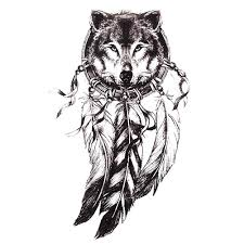 Sketch Black Tattoo Sticker Women Men 3D Body Art Wolf Dreamcatcher Indian Feather Flower Temporary Stickers High Quality Stick China