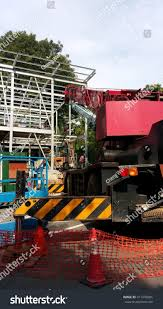 100 Truck Hoist Red Hydraulic Crane Attached Industrial Stock Photo Edit Now