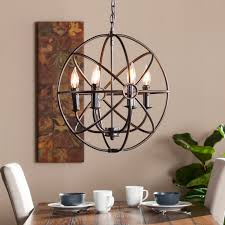 Dining Room Captivating Chenderliers 6 Light Industrial Style Steel Material Dark Bronze Finish Round