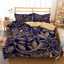 luxus dunkel blau gold boho bettbezug mandala bettwäsche geometrische muster urlaub quilt cover home bettwäsche sets boho kissenbezüge
