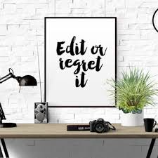 FUNNY QUOTE Edit Or Regret It Typographic Print Proofreading Poster Writers Office Wall Art