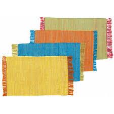 tapis coton tisse a plat tapis tressé plat en coton bi couleur bleu vert 60x90cm color