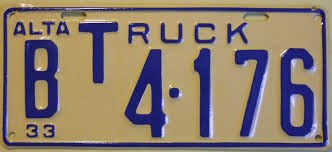 File:ALBERTA 1933 -B CLASS TRUCK LICENSE PLATE 4 DIGIT. - Flickr ...