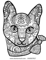 Beautiful Cat Vector Illustration Doodle Coloring Book For Adults Black And White