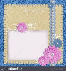 Templates Scrapbook Layout In Blue And Beige Colors With Paper Pearls Flowers