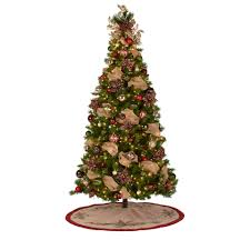 Flocked Christmas Tree Walmart by 7 U0027 Pre Lit Brinkley Pine Christmas Tree With Red And Silver