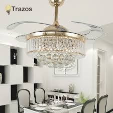 TRAZOS 42 Inch LED Modern Crystal Ceiling Fan Lamp Living Room Bedroom Retractable Fans With Lights Remote Control 220v