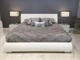 Parma Snow White Italian Modern Platform Bed