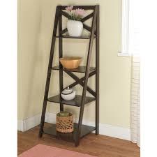 Mainstays Bathroom Space Saver by Mainstays Leaning Ladder 5 Shelf Bookcase Espresso Walmart Com