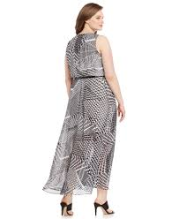 calvin klein size printed belted maxi dress in black lyst