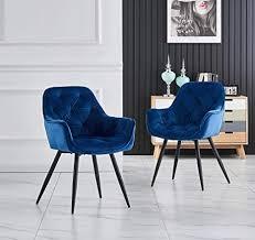 greneric 2er set blau esszimmerstuhl aus stoff samt wohnzimmerstuhl farbauswahl retro design armlehnstuhl stuhl mit rückenlehne sessel metallbeine