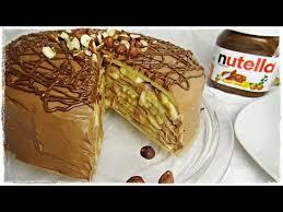 schnelle pfannkuchentorte mit nutella creme und bananen