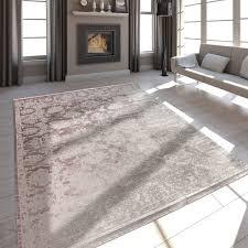 wohnzimmer teppich satin optik barock fransen rosa