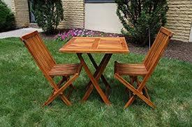 ALA TEAK Wood Patio Outside Garden Yard Folding Table And 2 Chair Set Fully