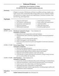Automotive Technician Resume Objective Examples Mechanics Photo