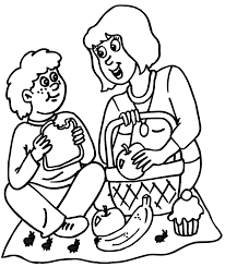 Picnic Coloring Page Of Ants At A