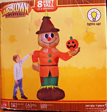 Halloween Airblown Inflatable Lawn Decorations by Gemmy 8ft Scarecrow W Pumpkin Halloween Thanksgiving Airblown