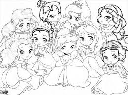 Little Disney Princesses Very Cute Coloring Page For Girls